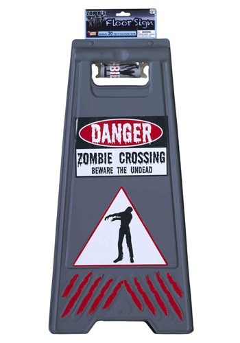 Zombie Warning Flooring Sign with Tape