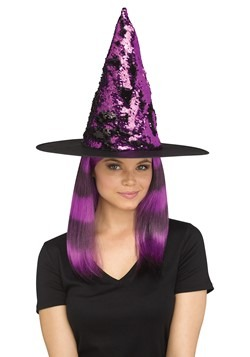 Flip Sequin Witch Hat Purple
