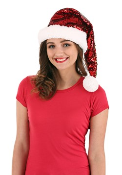 Reversible Sequin Red/Green Santa Cap