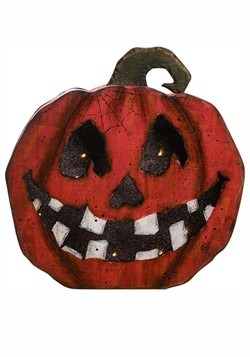 Wood Light Up Jack-O-Lantern Face Pumpkin Decor