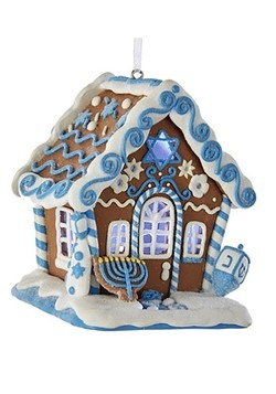 Hanukkah LED Gingerbread House Ornament