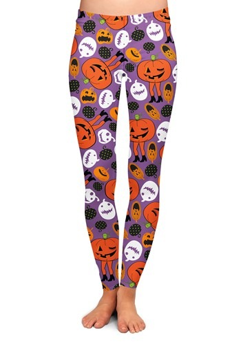 Women's Two Left Feet Attack of the Pumpkins Leggings1