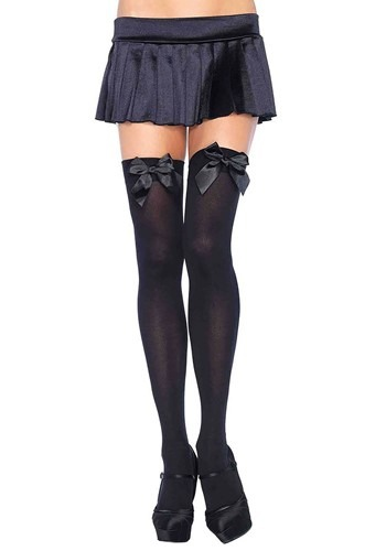 Black Opaque Thigh High Stockings w/ Satin Bows