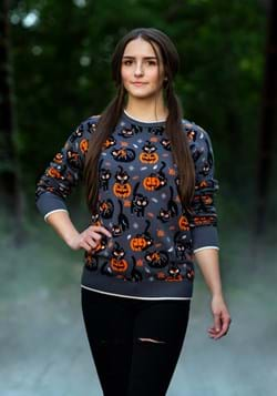 Quirky Kitty Halloween Sweater for Adults 1