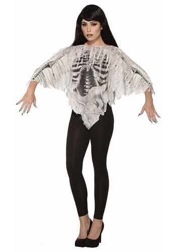 Women's Tattered Skeleton Poncho Costume