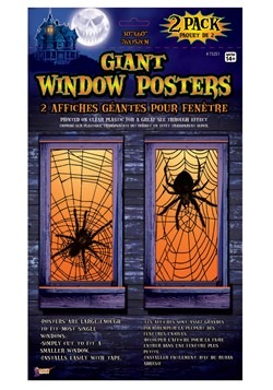 2 Pack Giant Spider Window Posters Decoration