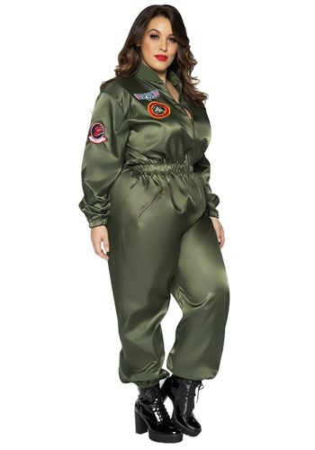 Top Gun Women's Plus Size Flight Suit Costume