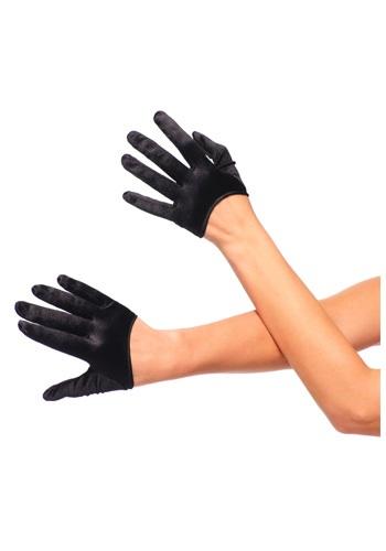 Black Cropped Satin Gloves
