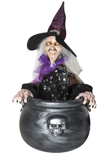 Animated Witch in Caludron Decoration