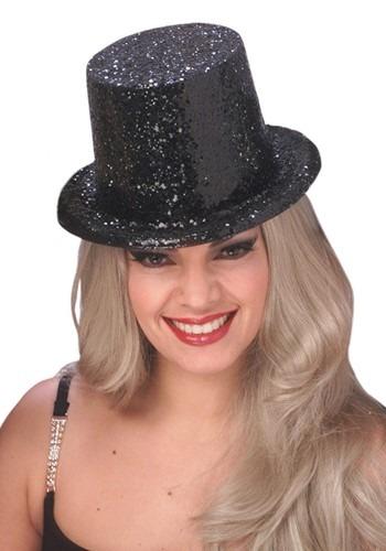 Adult Black Glitter Top Hat