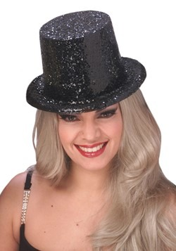 Adult Black Glitter Top Hat
