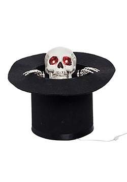 Light Up Animated Skull w/ Top Hat Décor