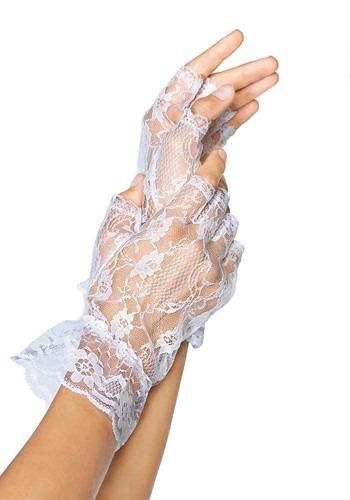 Womens White Lace Fingerless Gloves