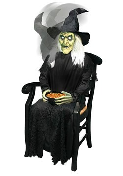 Animated Sitting Witch Candy Bowl