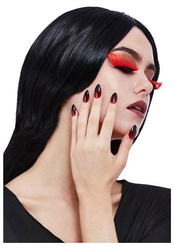 Gothic Red & Black Eyelash & Nail Set