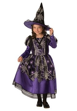 Girl's Victorian Light Up Spider Witch Costume