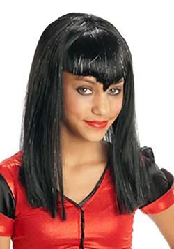 Kids Black Glitter Vampire Wig