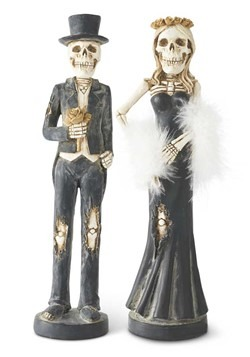 Resin Skeleton Lady and Man Tapered Candlesticks