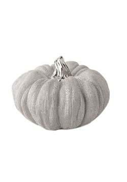5in Silver Metallic Textured Ceramic Pumpkins