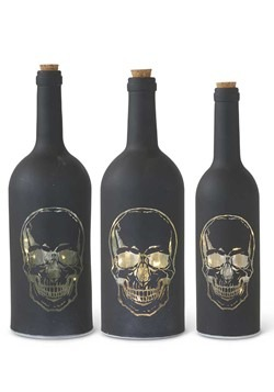 Set of 3 Matte Black LED Skull Bottles