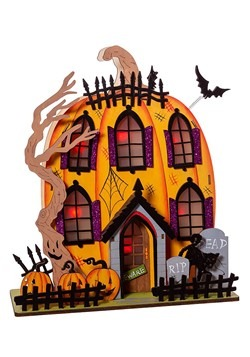 Light-Up Wooded Jack-O Lantern House Table Décor
