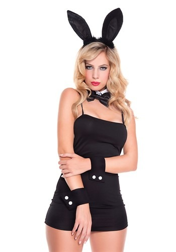 4 Piece Women's Black Bunny Accessory Kit