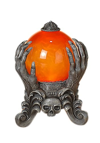 "8.75"" H Lighted Spinning Smoky Water Globe on Skeleton Hand"