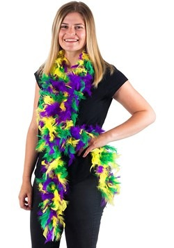 Mixed Colors Mardi Gras 50 Gram 6 Ft Feather Boa