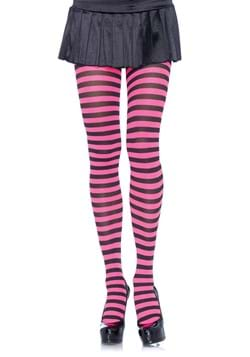 Black and Pink Striped Nylon Tights