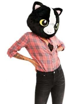 Black Cat Mascot Head Mask for Adults