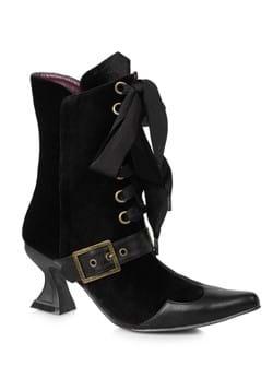 Women's Black Velvet Boots with Heel