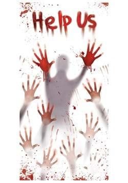 Help Us Bloody Hand Print Door Cover