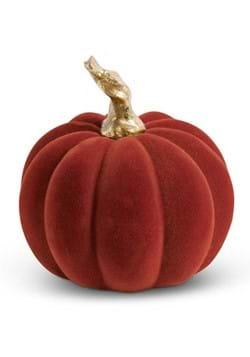 "3.5"" Burgundy Velvet Pumpkin w/Twisted Gold Stem"