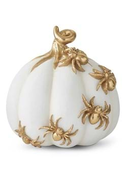 7 White Pumpkin with Gold Spiders