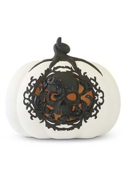 """7.75"""" White & Black LED Pumpkin w/Filigree and Sku"""
