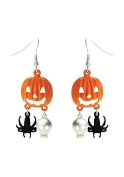 Pumpkin Skull Spider Earrings