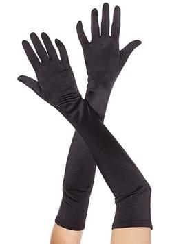 Extra Long Black Satin Gloves
