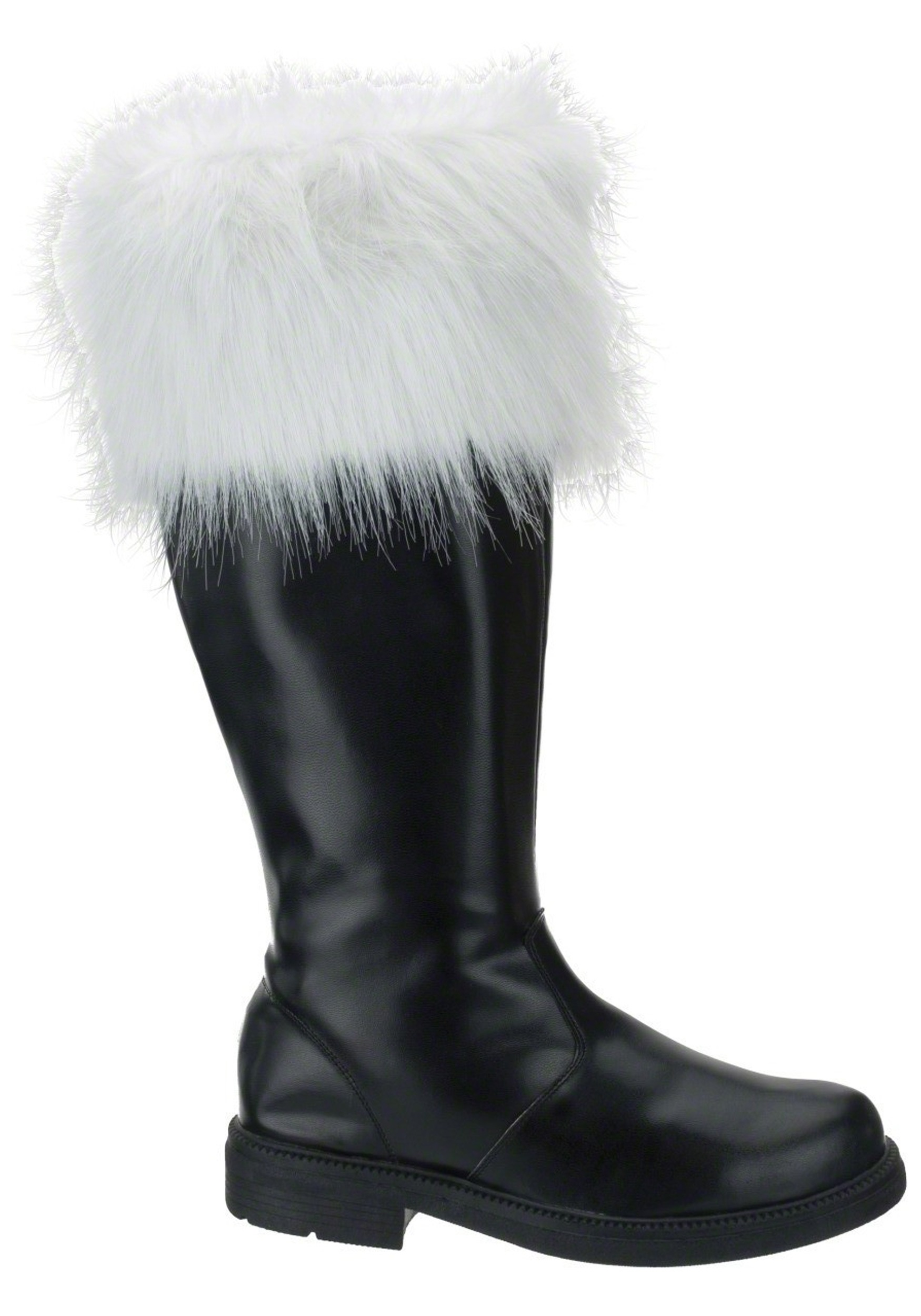 Santa Boot with White Fur Cuff Christmas Black Boots Footwear Party Halloween