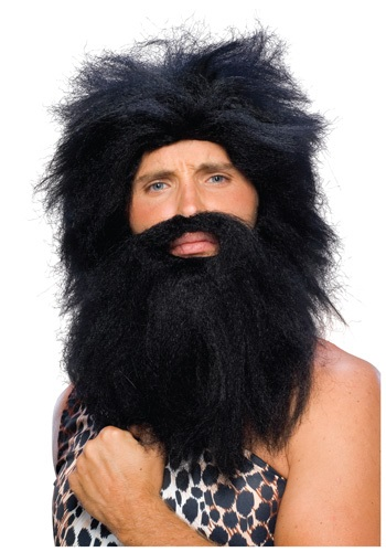 Black Prehistoric Wig and Beard