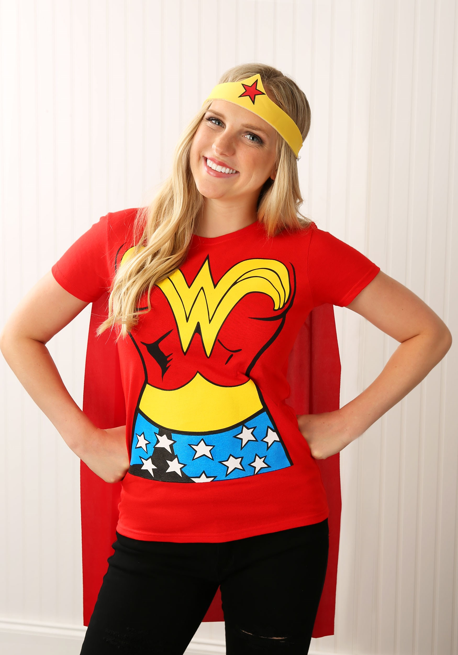 Wonder Woman T-Shirt Costume  sc 1 st  Halloween Costumes UK & Female Superhero Costumes - Womenu0027s Halloween Superhero Costumes