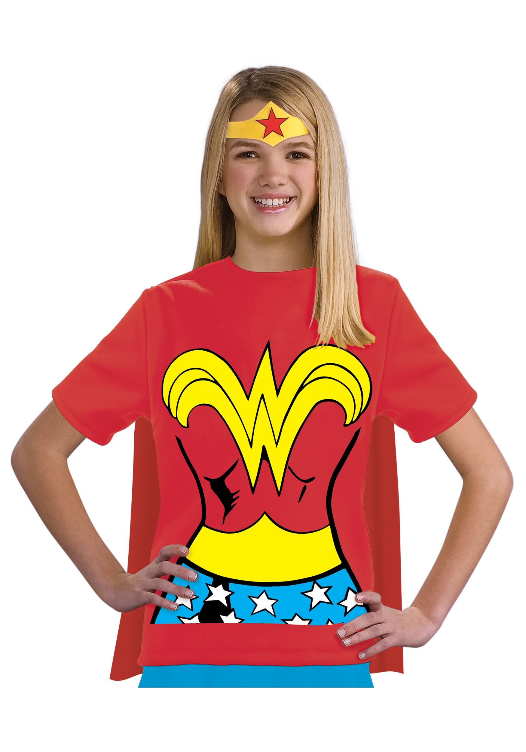 Child Wonder Woman T-Shirt Fancy Dress Costume