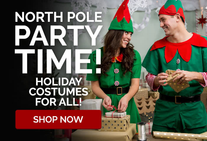 North Pole party time! Holiday costumes for all!